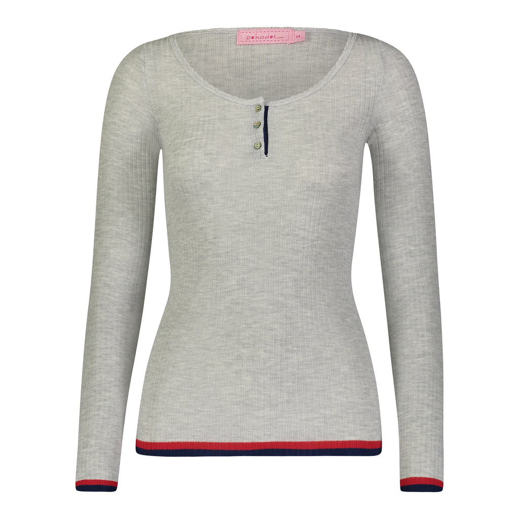 Polkadot RIB HENLEY Heather Grey w Gigi Border Stripe