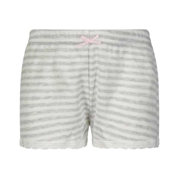 Polkadot GIRLS PJ SHORT Grey Sailor Stripe w Lace Hems