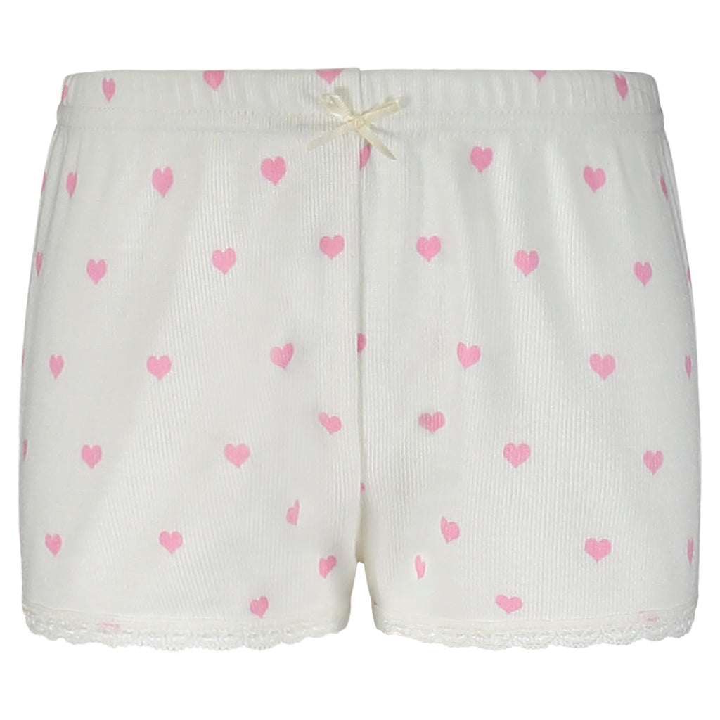 Polkadot GIRLS Pink Hearts Print SHORTS w Lace Hems