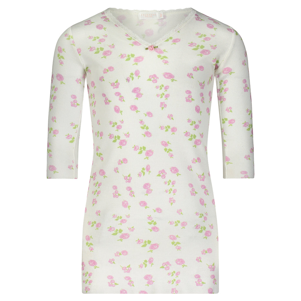 Polkadot GIRLS Pink Rose Print DRESS V Neck 3/4 Slv