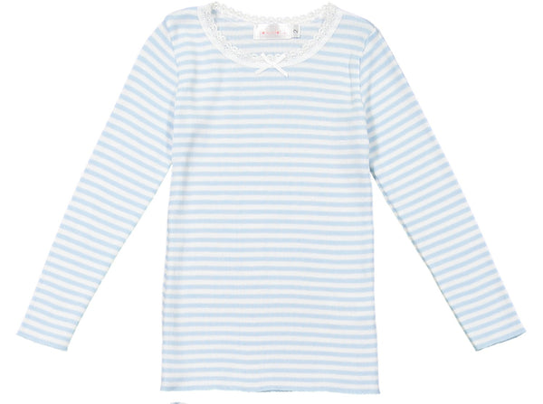 Polkadot GIRLS OCEAN BLUE Sailor Stripe PJ CREW LS w Lace
