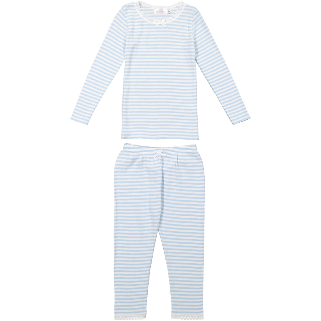 Polkadot GIRLS OCEAN BLUE Sailor Stripe PJ PANT w Lace