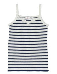 Polkadot GIRLS CAMISOLE Breton Rib Stripe Navy/Cream