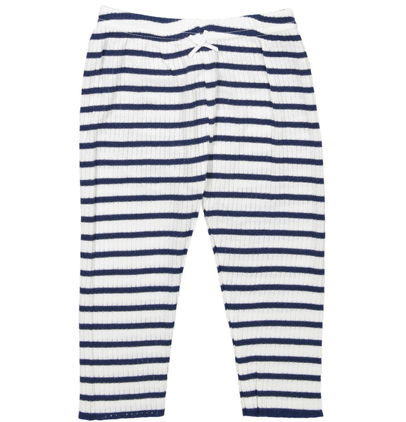 Polkadot GIRLS PJ PANT Breton Rib Stripe Navy /Cream