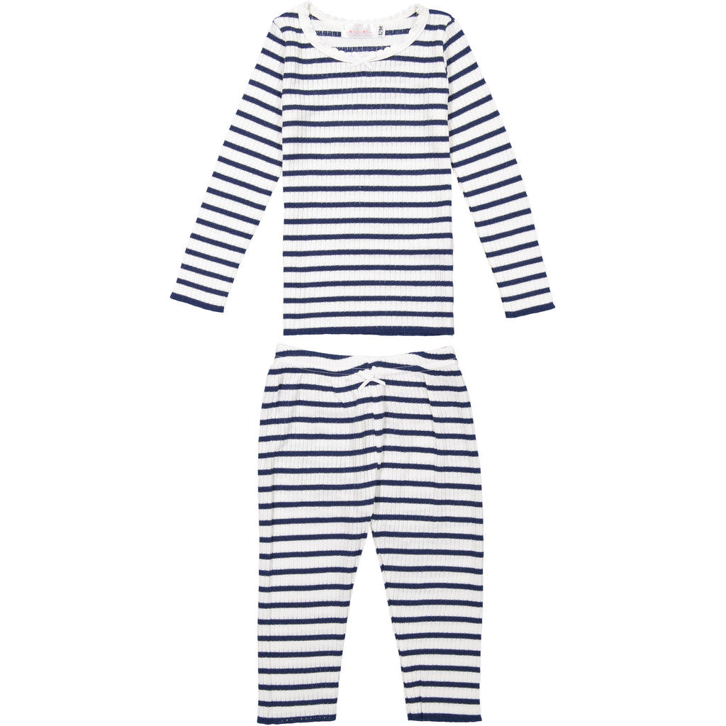 Polkadot GIRLS PJ CREW LS Breton Rib Stripe Navy /Cream