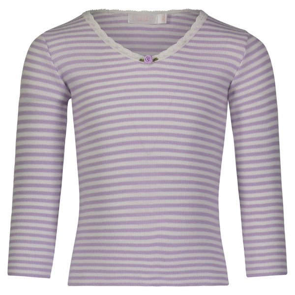 Polkadot GIRLS HI V NECK LS TOP Lilac Sailor Stripe w Lace