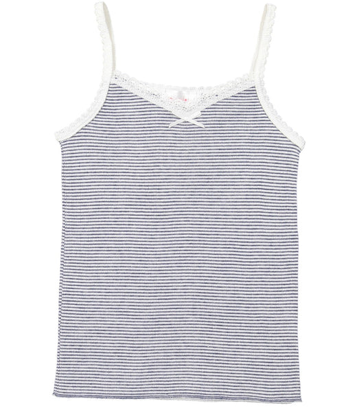 Polkadot GIRLS CAMISOLE Navy/Cream Skinny Stripe