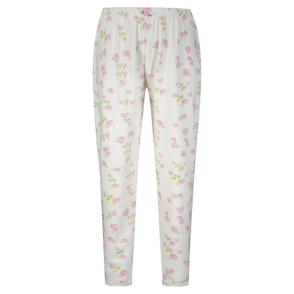Polkadot GIRLS Pink Rose Print PANTS w Lace Hems