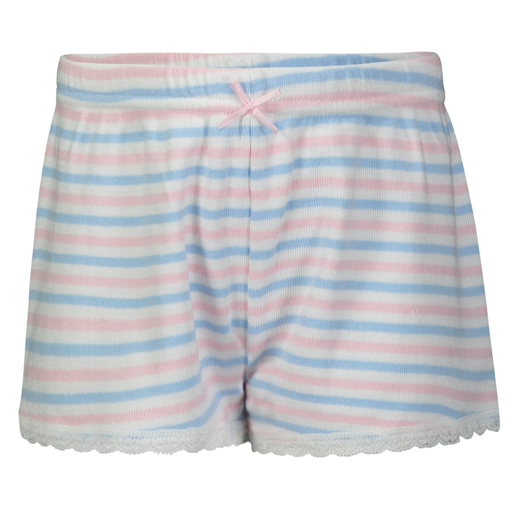 Polkadot GIRLS PJ SHORT Pink /Lt Blue /Cream Sailor Stripe w Lace Hem