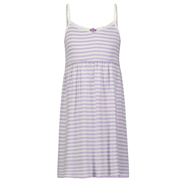 Polkadot GIRLS BABYDOLL DRESS Lilac Sailor Stripe w Lace