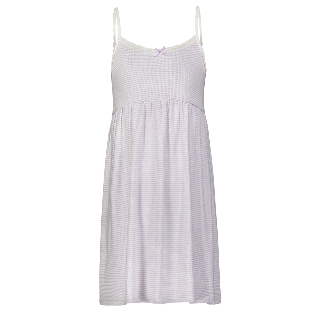 Polkadot GIRLS BABYDOLL DRESS Lilac Skinny Stripe w Lace
