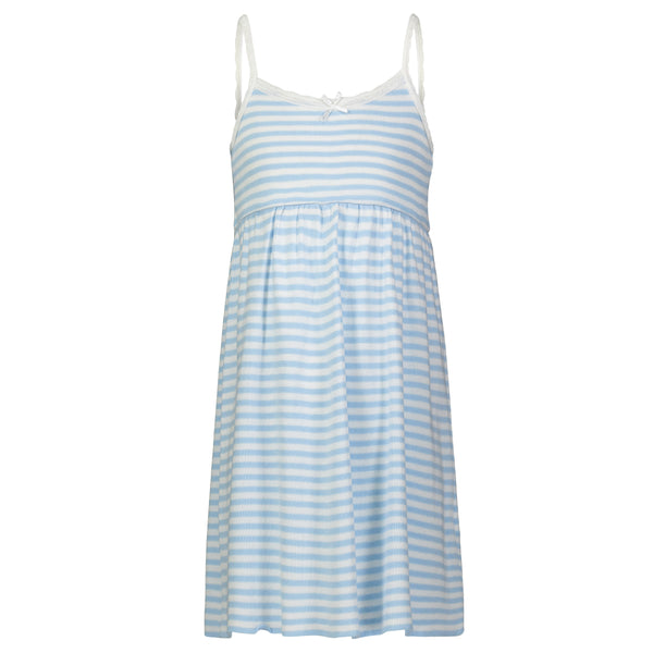 Polkadot GIRLS OCEAN BLUE Sailor Stripe BABYDOLL DRESS w Lace