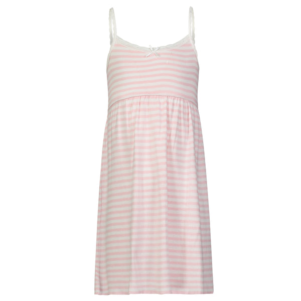 Polkadot GIRLS BABYDOLL DRESS Pink Sailor Stripe w Lace