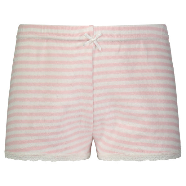 Polkadot GIRLS PJ SHORT Pink Sailor Stripe w Lace Hem
