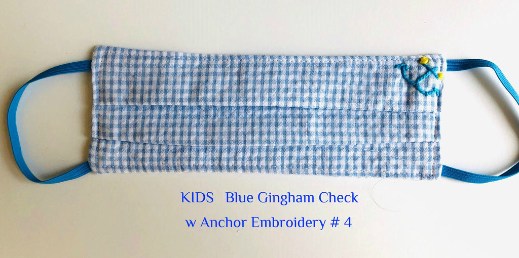 Mask KIDS Blue Check w Anchor Embroidery # 4