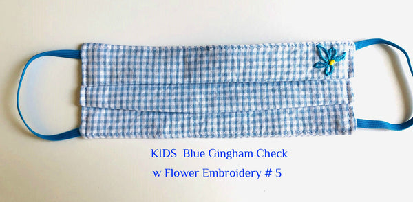 Mask KIDS Blue Check w Flower Embroidery # 5