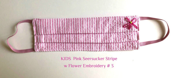 Mask KIDS Pink Stripe w Flower Embroidery # 3