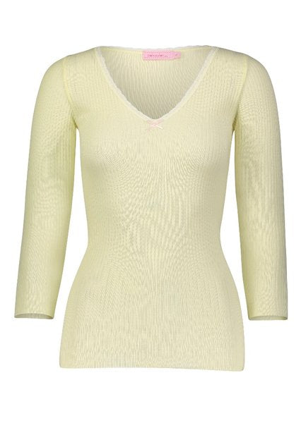 Polkadot USA Womens Lemon 3/4 Sleeve Ribbed V-Neck
