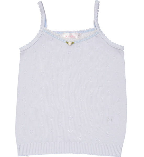 Polkadot GIRLS CAMISOLE Lt Blue Vintage Hearts w Lace