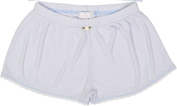 Polkadot GIRLS SHORT Lt Blue Vintage Hearts w Lace