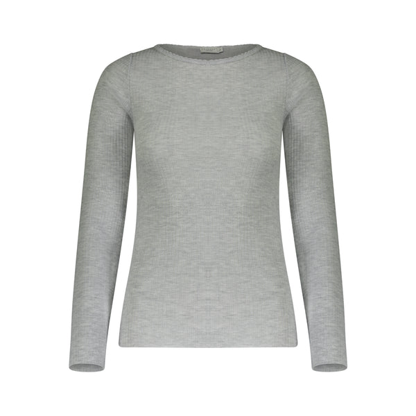 Polkadot RIB CREW LS Heather Grey w Scallop