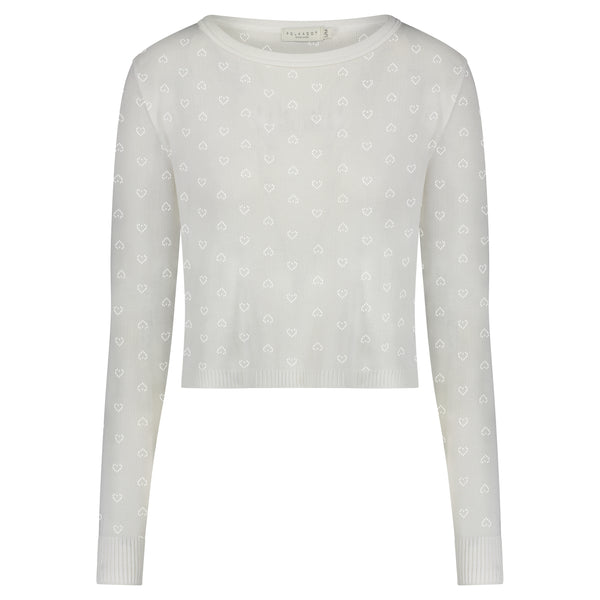 Polkadot PARKER CROP SLOUCHY PEARL WHITE Vintage Hearts Pointelle