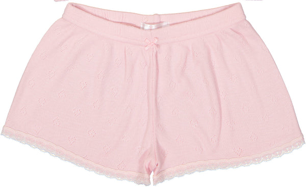 Polkadot GIRLS SHORT Pink Vintage Hearts w Lace