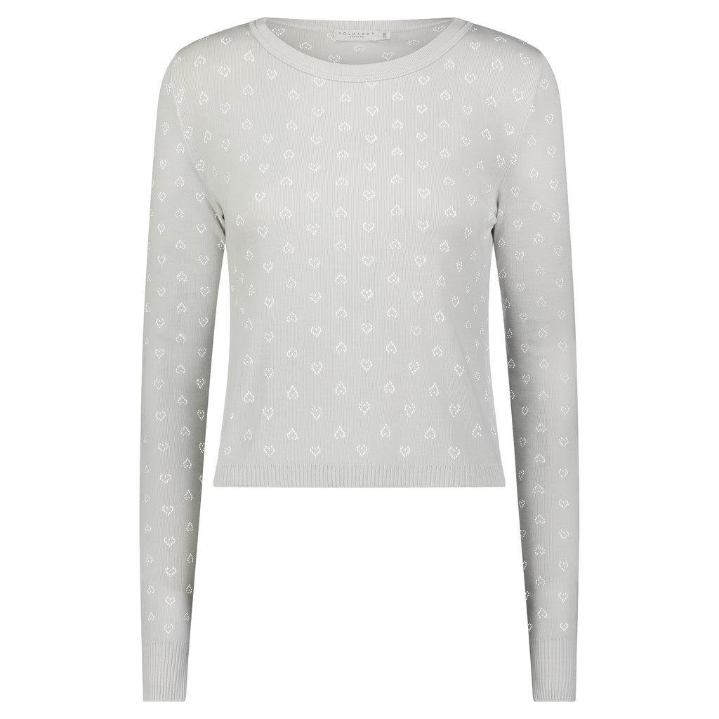 Polkadot PARKER CROP SLOUCHY Crew LS SOFT GREY Hearts Pointelle