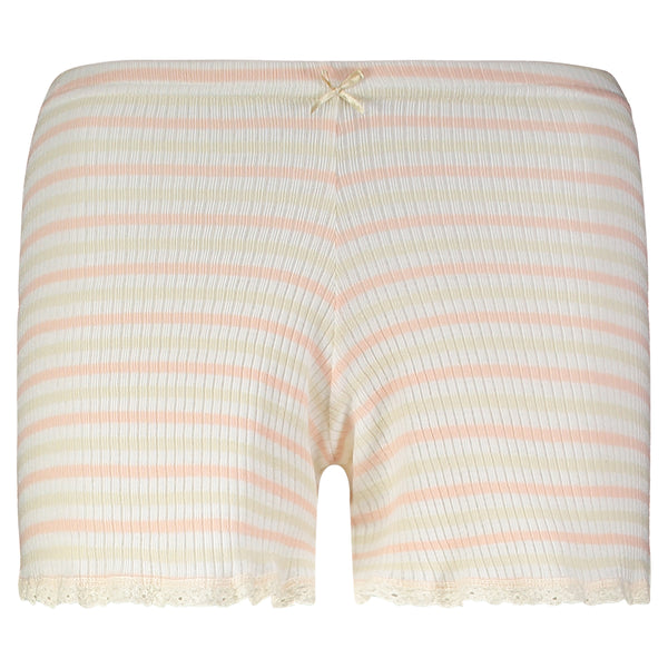 Polkadot Sally Rib Stripe LONG SHORT w Cluny Lace Peach /Cream /Oatmeal