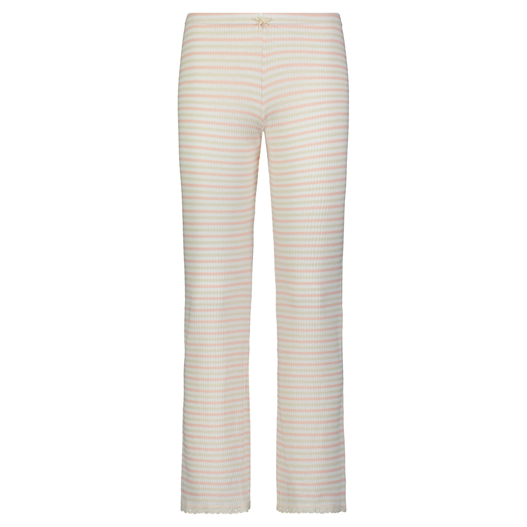 Polkadot Sally Rib Stripe PANT w Cluny Lace Peach /Cream /Oatmeal