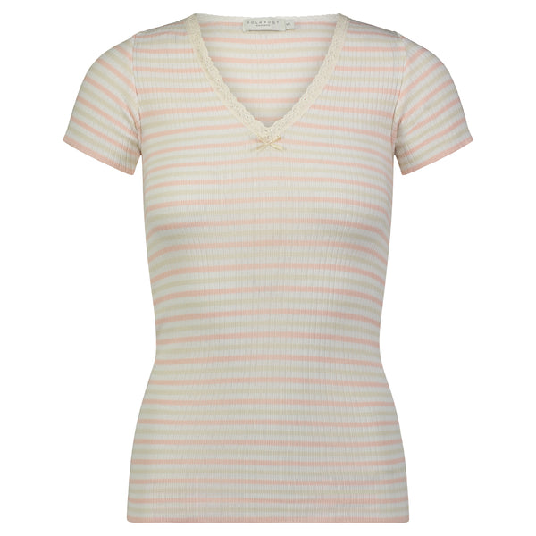 Polkadot Sally Rib Stripe V NECK SS w Cluny Lace Peach /Cream /Oatmeal