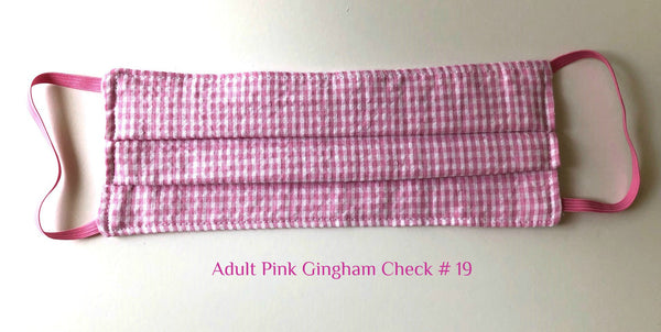Mask Adult Pink Gingham Check # 19