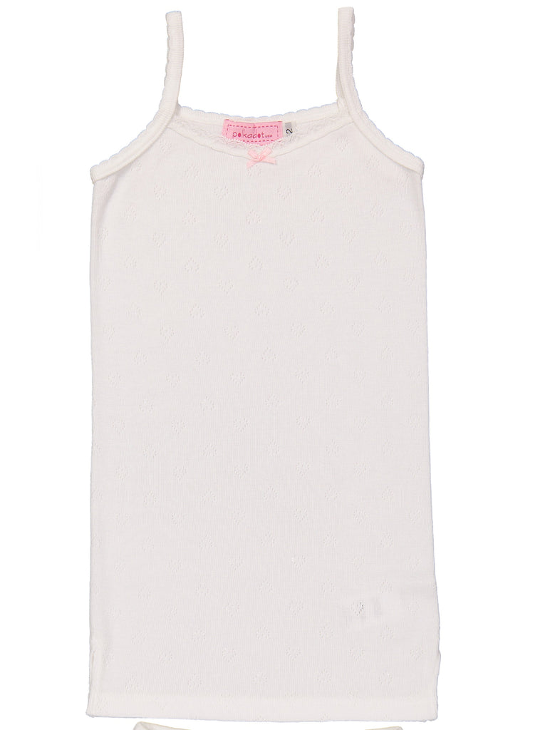 Polkadot GIRLS CAMISOLE Pearl White Vintage Hearts w Lace