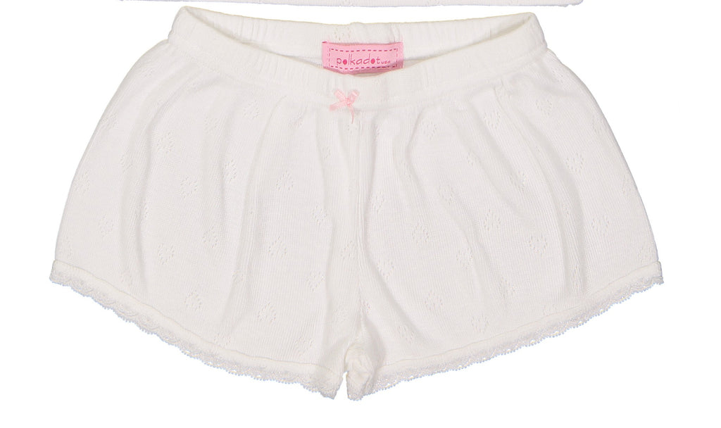 Polkadot GIRLS SHORT Pearl White Vintage Hearts w Lace