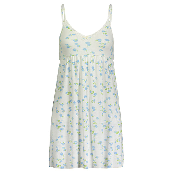 Polkadot Blue Floral Print BABYDOLL GOWN w Cluny Lace