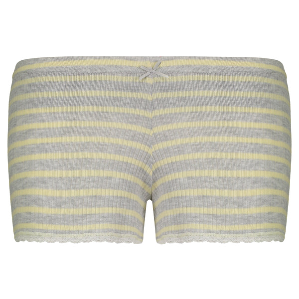 Polkadot SHORT Yellow Breton Rib Stripe w Lace Hems