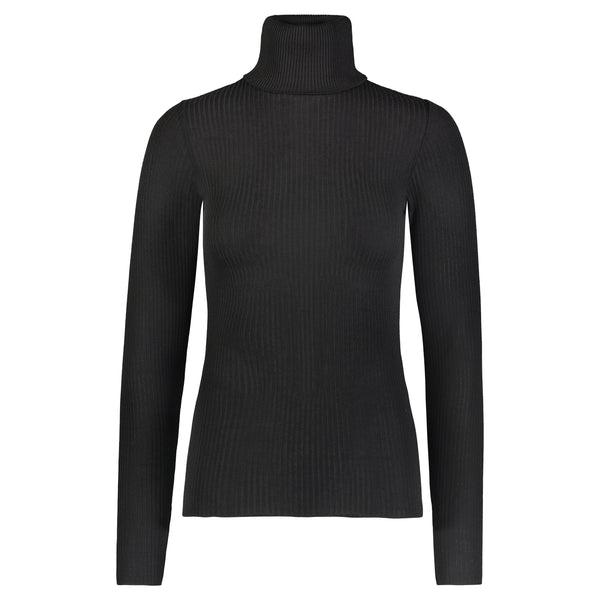 Polkadot Fitted TURTLENECK LS BLACK Rib Knit