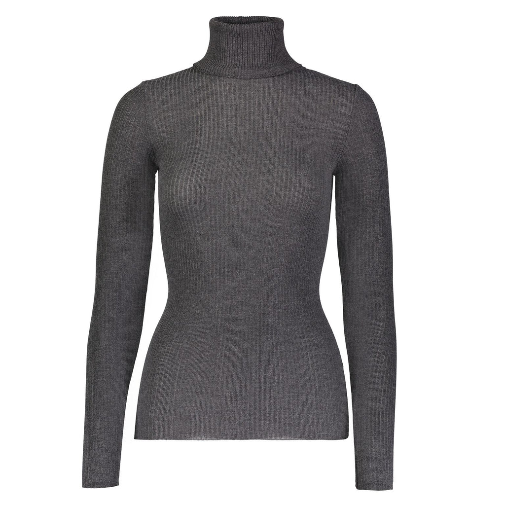 Polkadot TURTLENECK LS Rib Knit CHARCOAL
