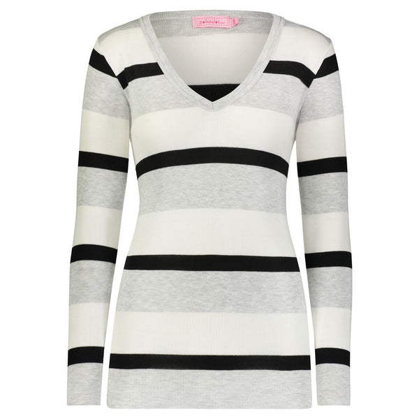Polkadot Slouchy White, Grey and Black Wide Stripe V-Neck Top