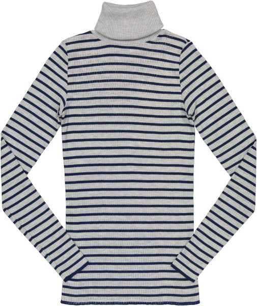 Polkadot USA Womens Turtleneck Grey and Navy Breton Stripe