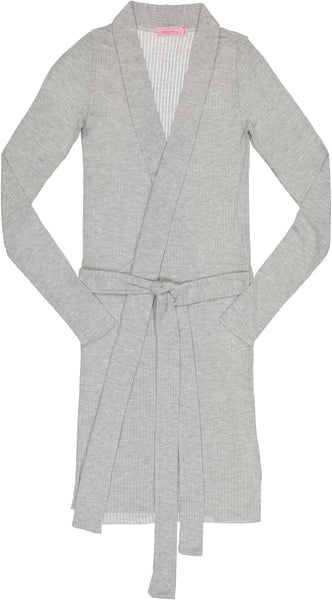 Polkadot Robe w Belt, Grey Heather Rib Knit