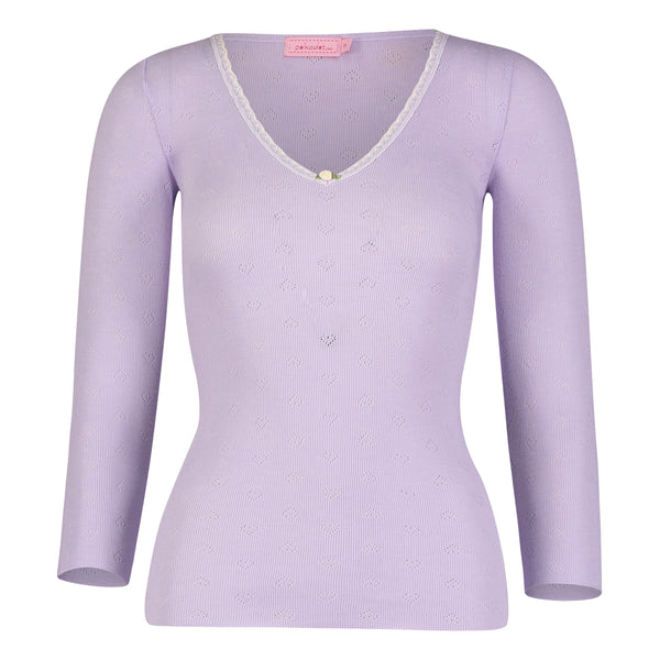 *Polkadot USA Womens 3/4 Sleeve Lilac V-Neck*