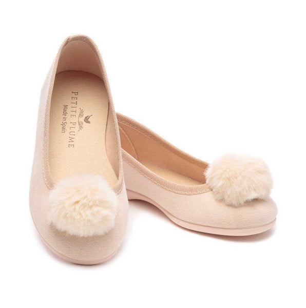 PETITE PLUME Juliette Slipper LIGHT PEACH Suede w Pom Pom (30/13,32/1 ONLY)