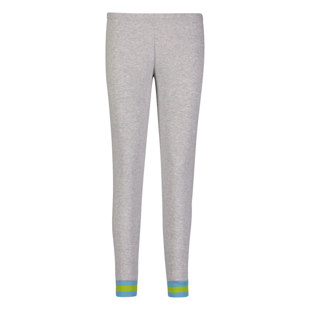 Polkadot RIB JOGGER Heather Grey w Turq/Lime Stripe Cuffs