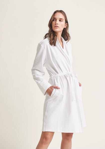 SKIN ~French terry robe w attached belt