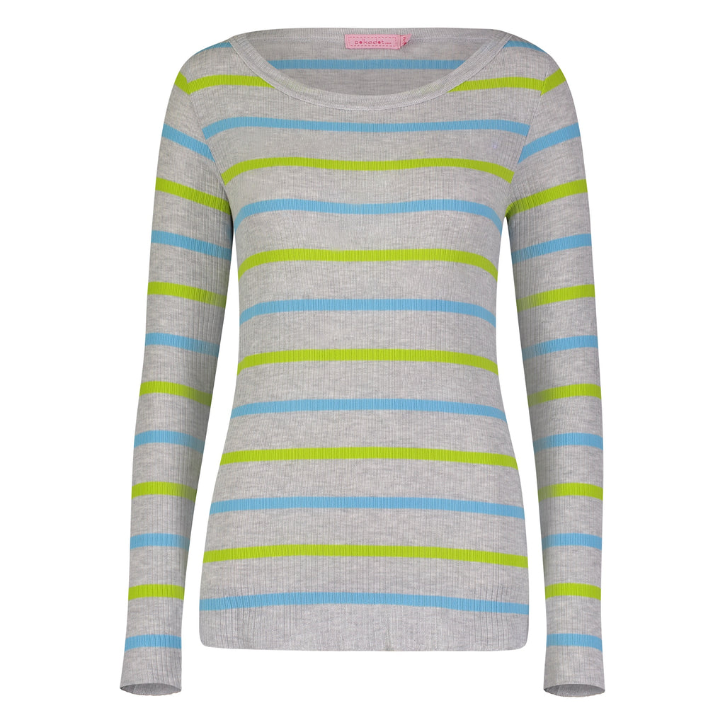 Polkadot USA Womens Turquoise and Lime Stripe Boat Neck Slouchy Top