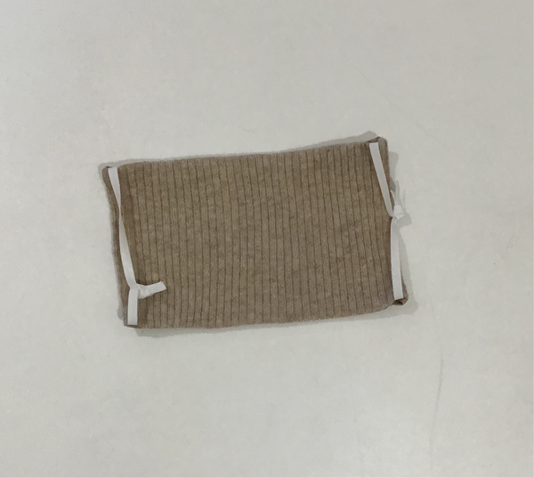 Cashmere Mask-  Tan Ribbed Knit