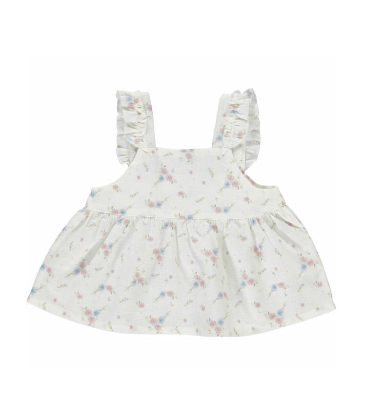 BABY BEBE ORGANIC Floral ruffle romper/bloomer