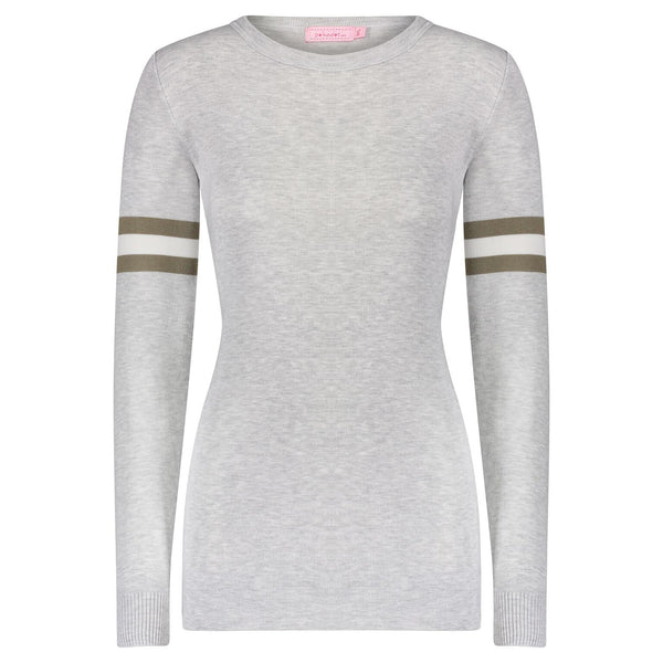 Polkadot SOPHIA SLOUCHY CREW LS Grey with Loden Lee Sleeve Stripe