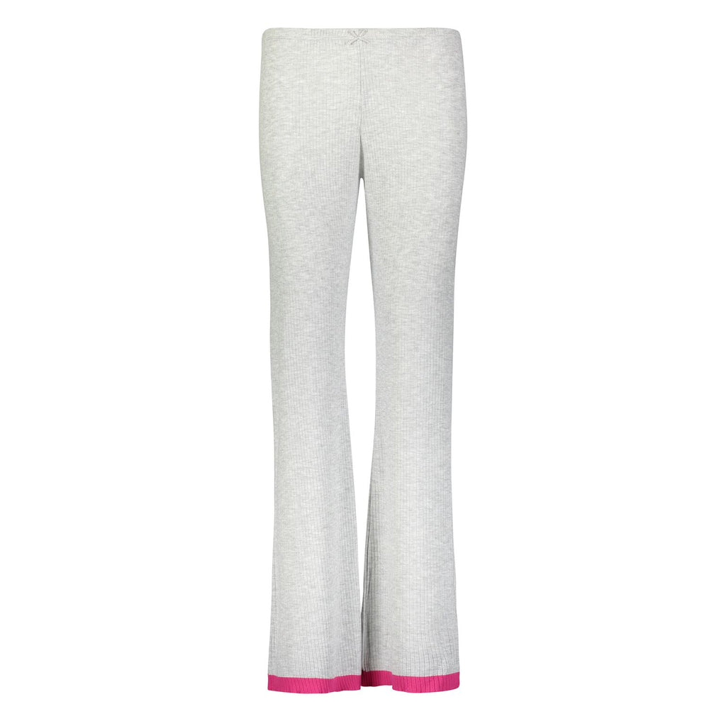 Polkadot RIB PANT Heather Grey w Pink Border Stripe Hem